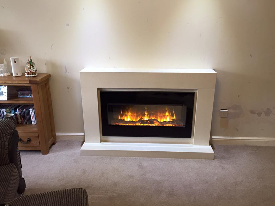Bespoke Marble Fireplace With Omni Glide Electric Fire