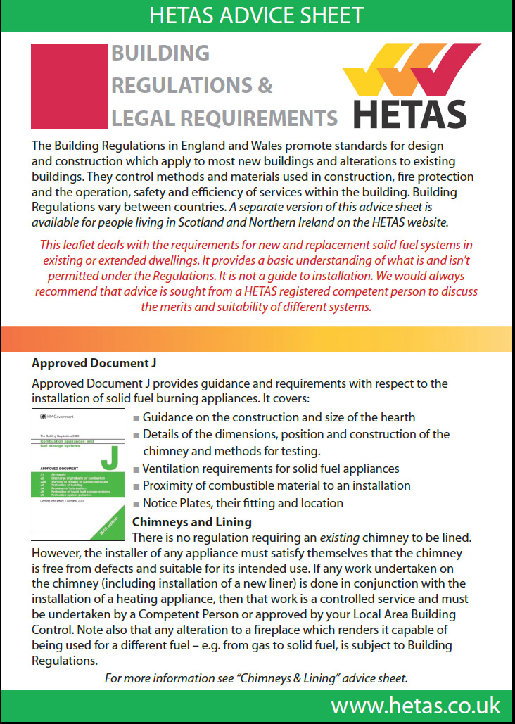 HETAS advice sheet building regs