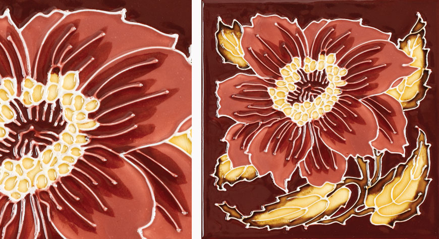 Stovax Chrysanthemum fireplace tiles