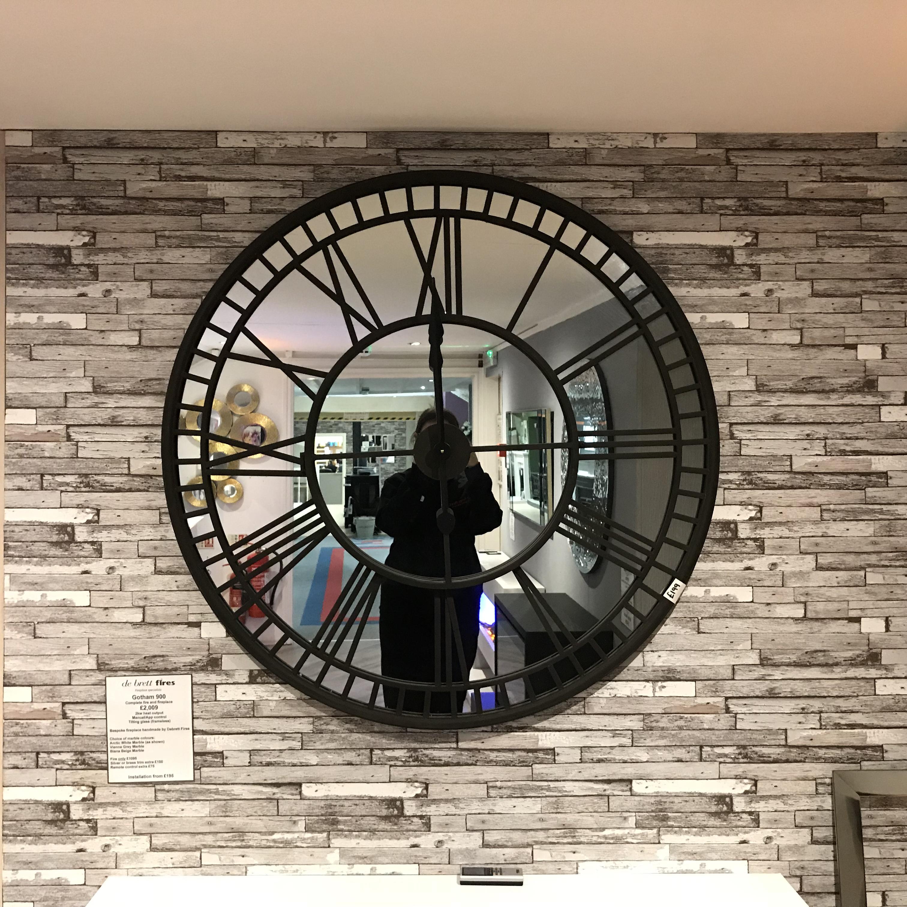 Large Mirror Iron Wall Clock Debrett Fires